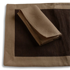 Biancheria Amber/Brown Placemats/Napkins - Set of 4