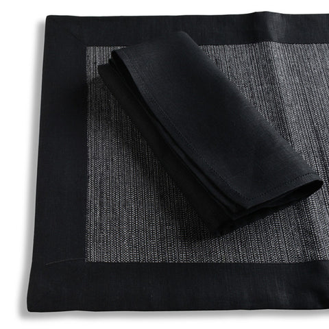 Biancheria Black Placemat and Napkin