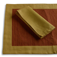 Biancheria Gold/Rust Placemats/Napkins - Set of 4