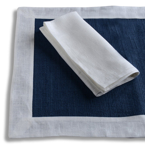 Biancheria White and Blue Placemat and Napkin