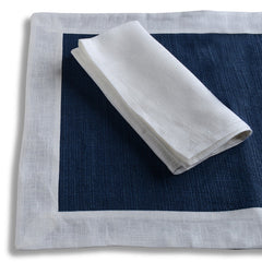 Biancheria White/Blue Placemats/Napkins - Set of 4