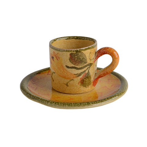 Zucca Espresso Cup and Saucer with Flower