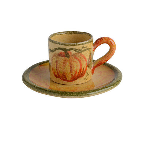 Zucca Espresso Cup and Saucer with Pumpkin