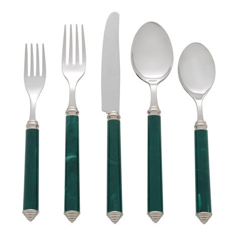5 Piece Place Setting of Condotti in Dark Green