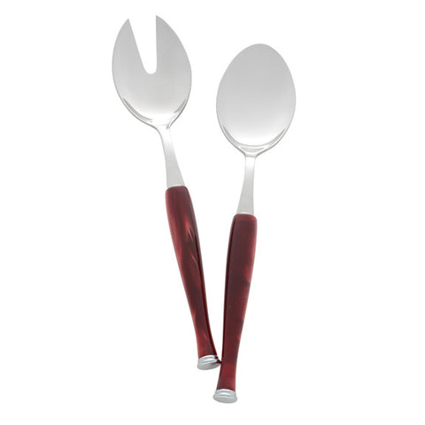 Trevi Perlato Salad Serving Set in Burgundy