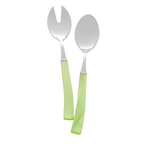 Via Veneto Salad Serving Set in Green