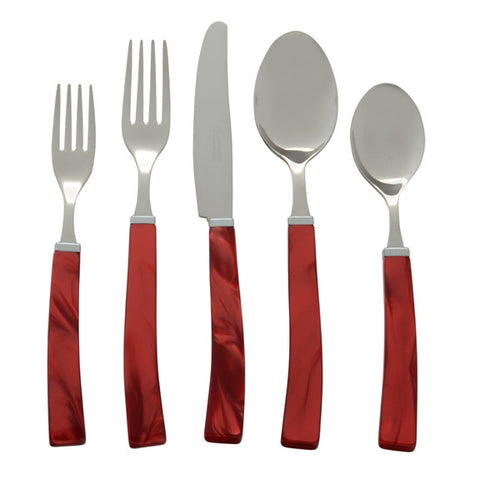 5 Piece Place Setting of Via Veneto in Red
