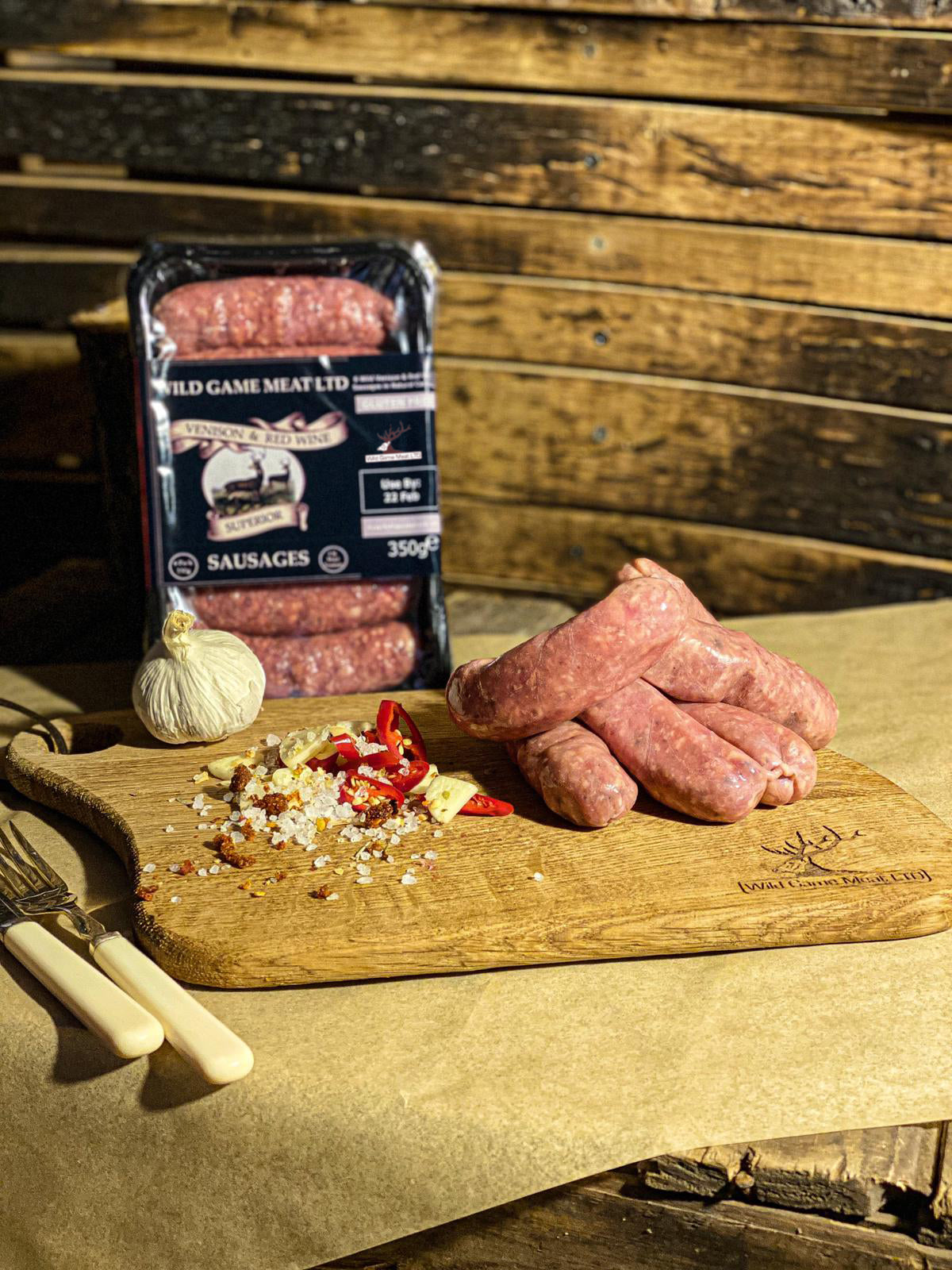 Venison & Red Wine sausages - Wild Game Meat