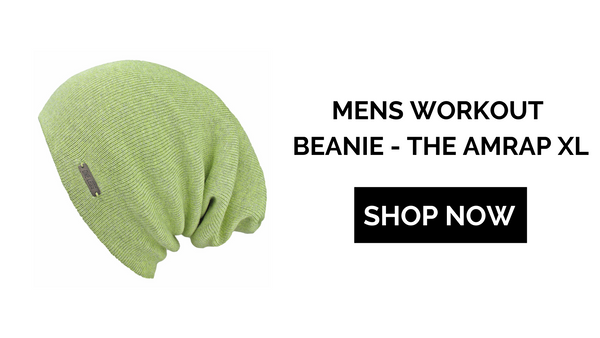 neon green xl workout beanie with shop now button
