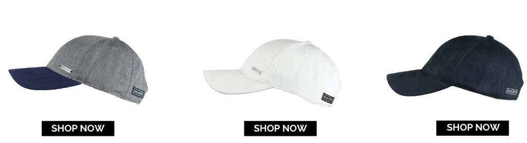 three baseball caps with shop now button