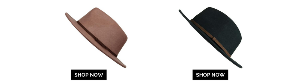 two mens fedora hats with shop now button