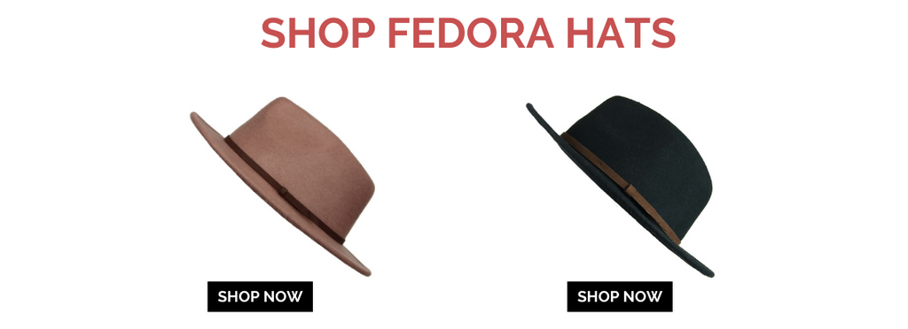 tan fedora hat with black fedora hat alligned with shop now button