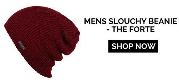 Maroon slouchy beanie with shop now button