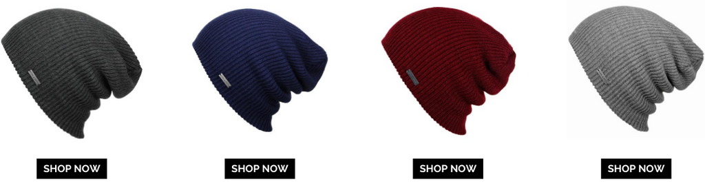 four beanies in different colors side by side with shop now button