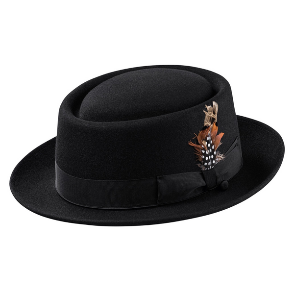 black porpie hat with feather on the side