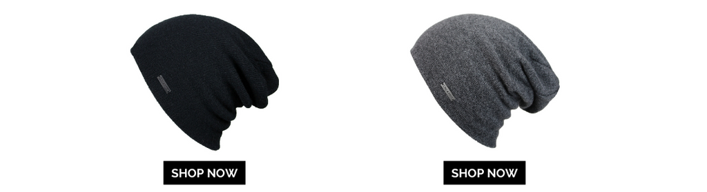 2 beanies black and grey alligned with shop now button