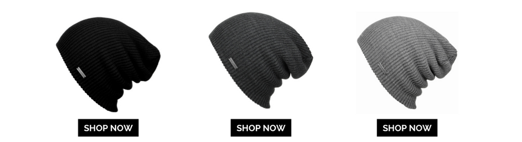 3 beanie black, grey and light grey alligned with shop now button