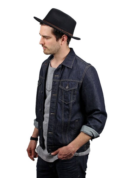 Men Wide Brim Fedora Black