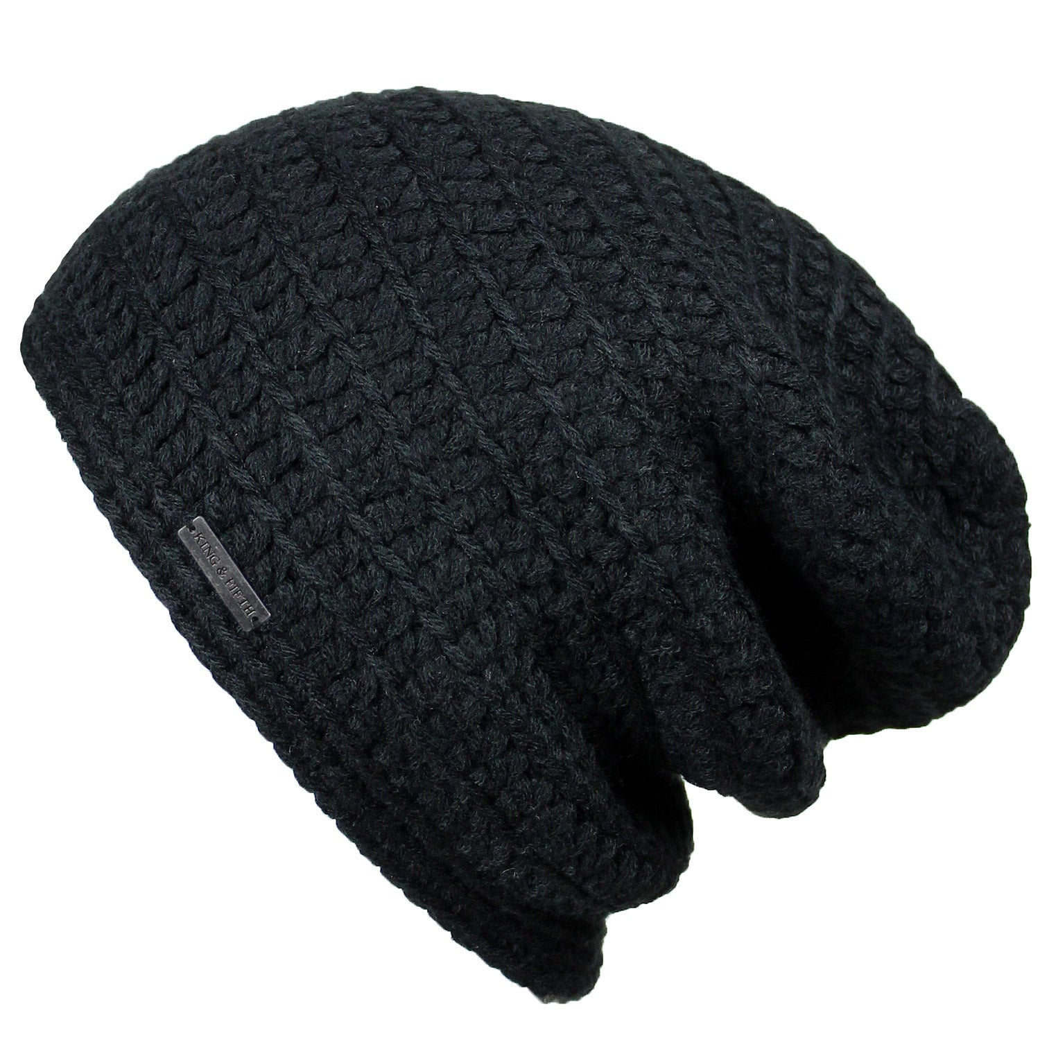 9f56eb716386c7 Mens Slouchy Beanie - The Beeskie - Black - King and Fifth Supply Co.