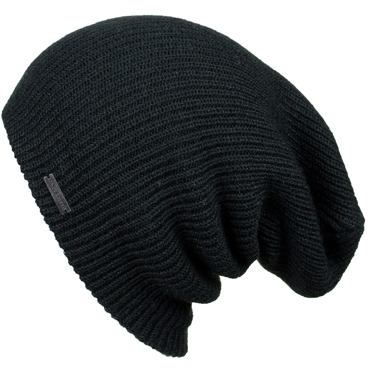 Mens Slouchy Beanie - The Forte- Black Beanie Hat - King and Fifth ... 2562ef4f776