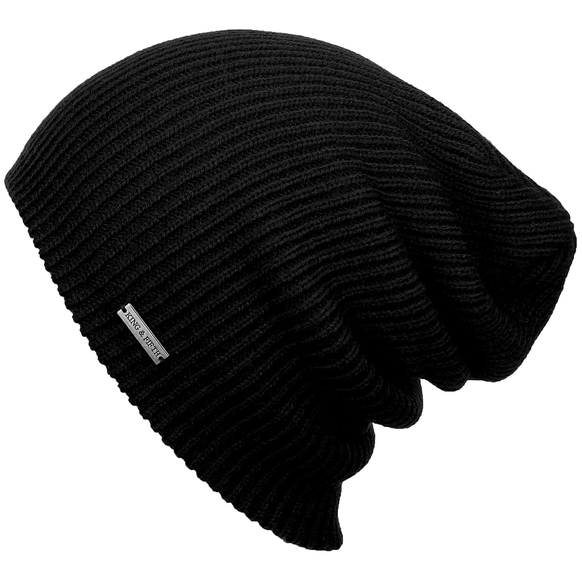 "forms shot of a black knitted slouchy beanie with a metal label that says ""king & fifth"""