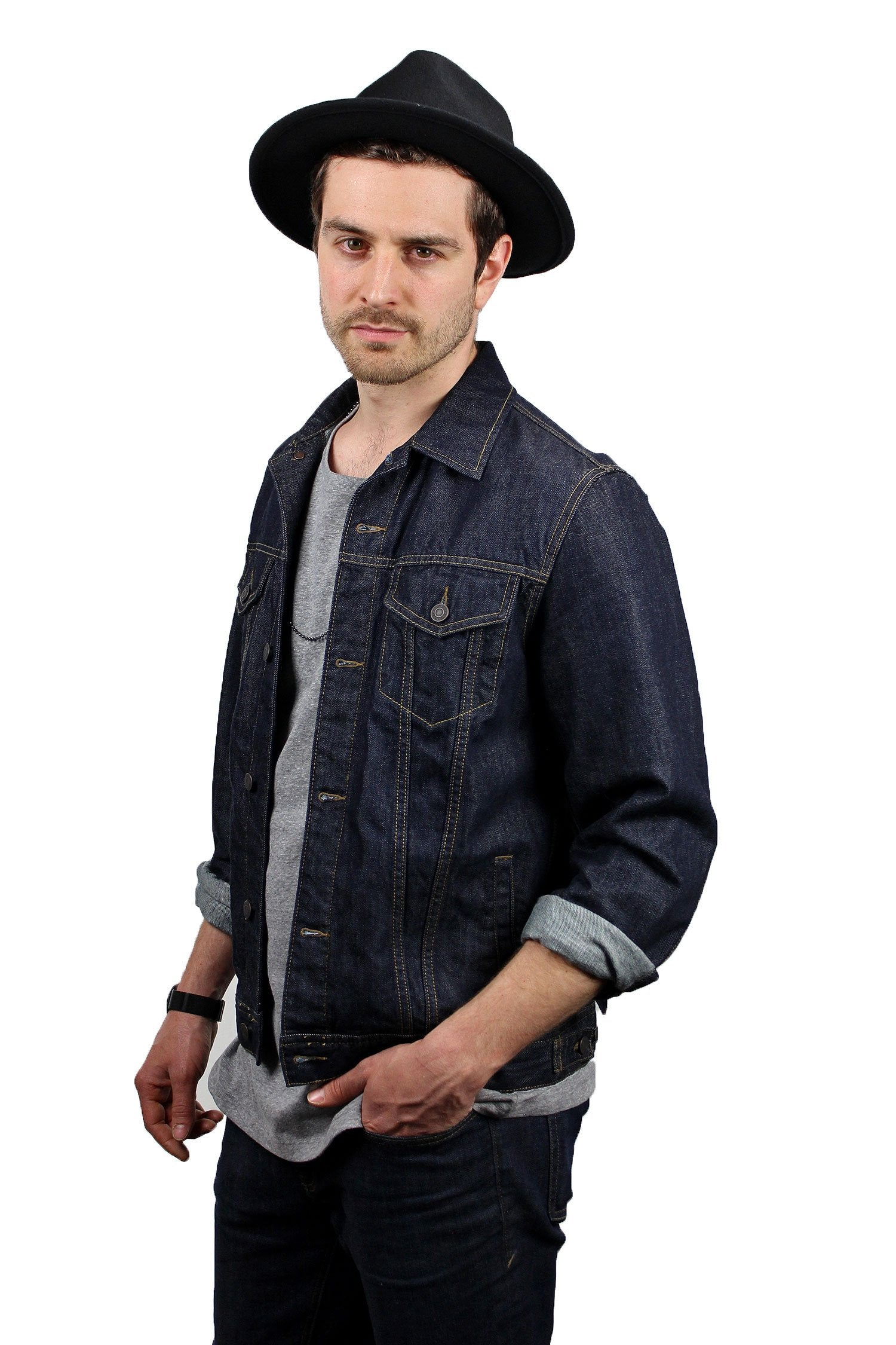 Wide Brim Fedora - The Arlo - Mens Fedora Black - King and Fifth Supply Co.