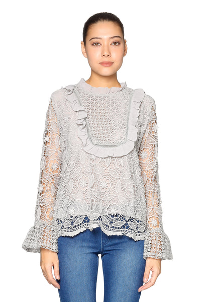 Front Lace Long Sleeves Top in Grey