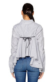 Stripes Oversized Back Fringe Top in White Black