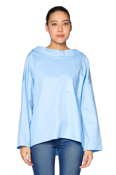 Pocket Blouse in Light Blue