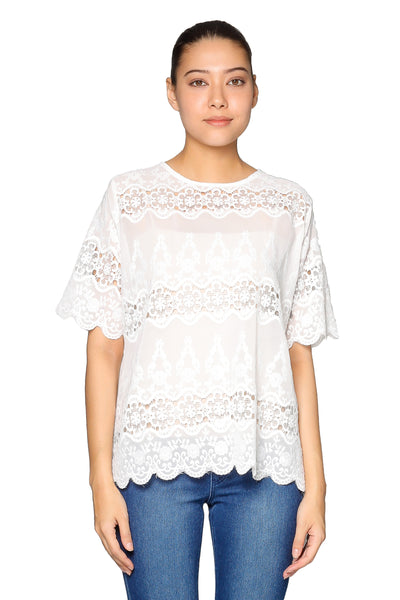 Lace Short Sleeves Top in White