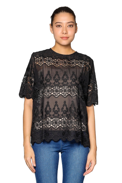 Lace Short Sleeves Top in Black