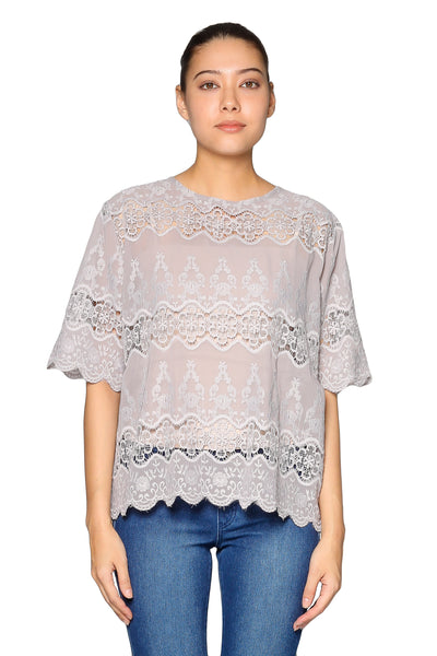 Lace Short Sleeves Top in Grey