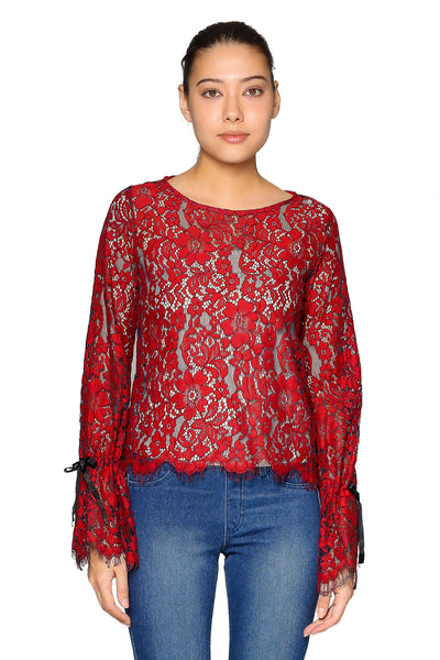 Full Lace Floral Top in Red