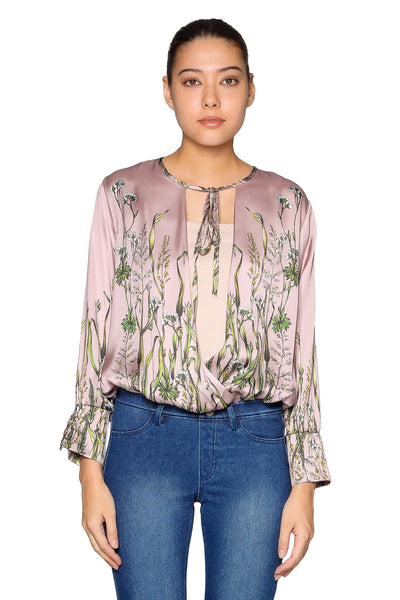Printed Silk Floral Top in Taupe Pink