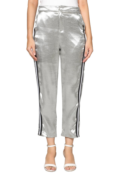 Line Shiny Pants in Silver