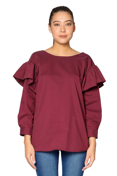 Ruffle Armhole Long Sleeves Top in Maroon