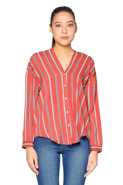 Stripes Short Light Material Top in Vintage Red