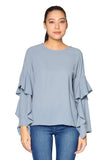 Flair Plain Long Ruffle Sleeves Top in Grey