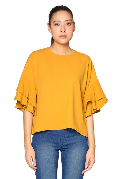 Ruffle Plain Top in Mustard