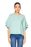 Ruffle Plain Top in Mint Green