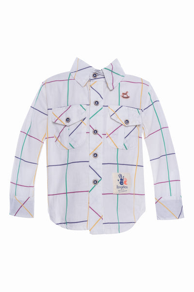 Checks Long Sleeves Shirt in White