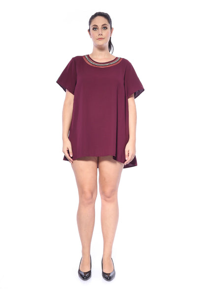 Belle Embellished Mini Dress in Maroon