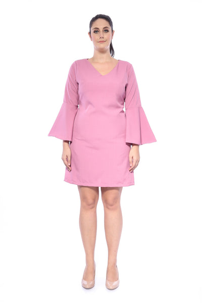 Salome Plain Dress in Dusty Pink