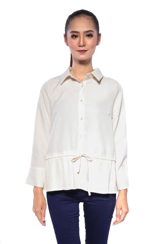 All Pleated String Collar Top in Cream