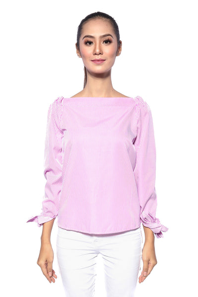 Izrinz Off Shoulder Stripes Top in Pink
