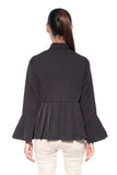All Pleated Collar Top in Black