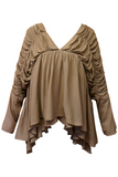 Vivianne V-Neck in Light Brown