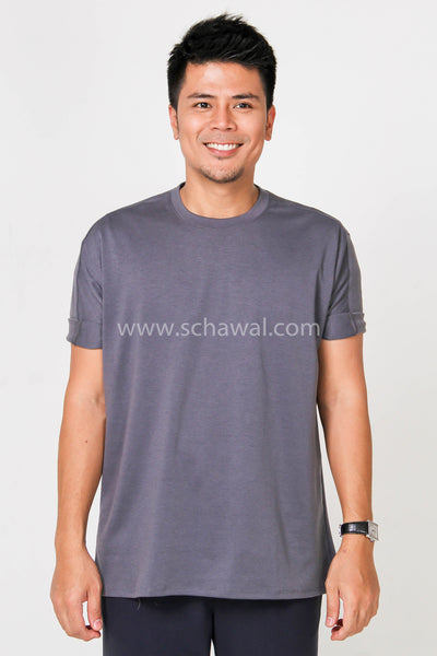 Awal Patches Plain Shirt in Dark Grey
