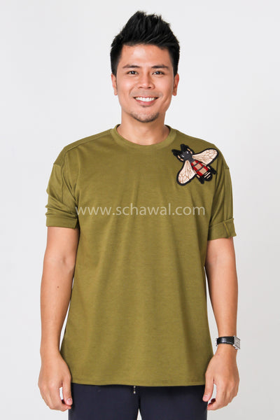 Awal Patches Plain Shirt in Army Green