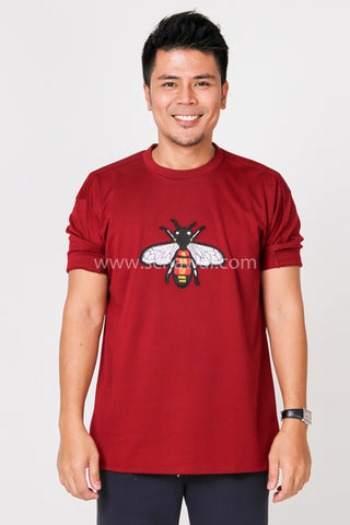 Awal Patche Design A Plain Shirt in Maroon